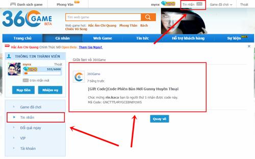 Bước 2: các bạn tiến hành truy cập vào địa chỉ http://gunny1.360game.vn/ để  vào Gunny Huyền Thoại.