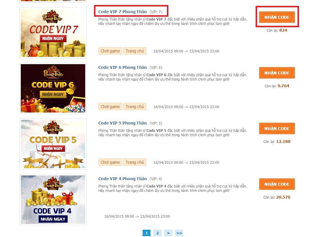 Bước 1: truy cập và nhận code VIP Phong Thần tại : http://360game.vn/code-vip/web-game/phong-than_24213/  . Chọn đúng cấp bậc VIP hiện tại của mình để lấy ...