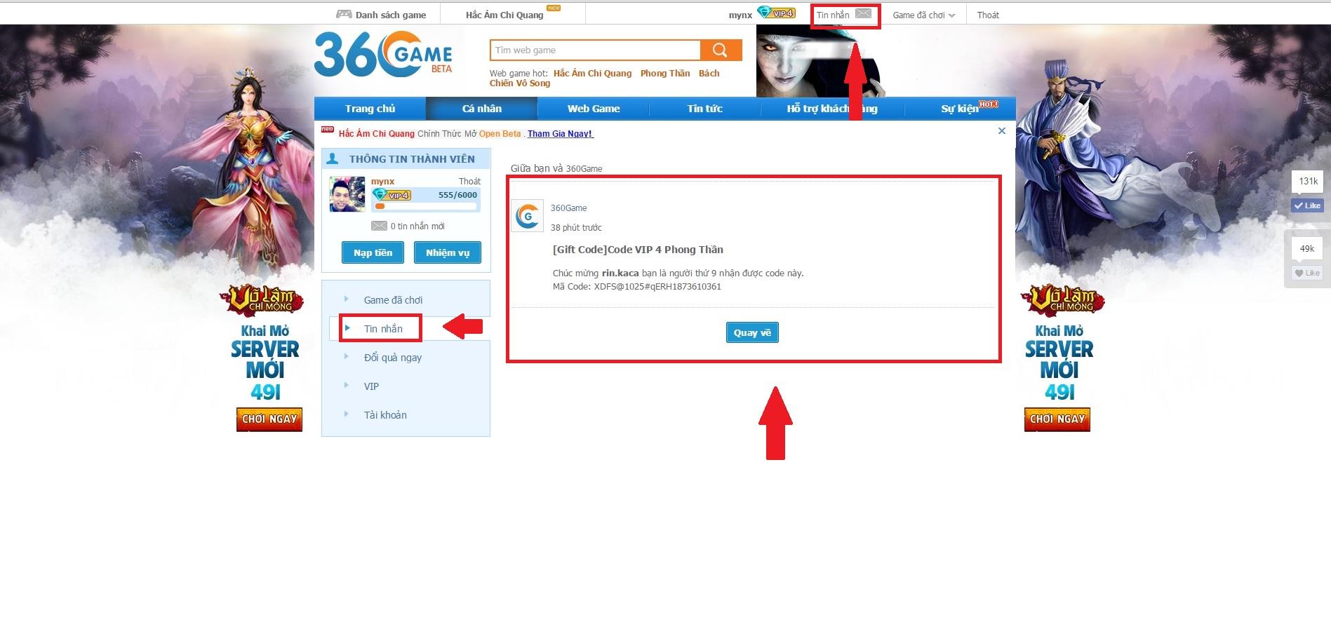 Bước 2: mở hộp tin nhắn 360Game để nhận mã code ( http://360game.vn/user/tin-nhan/  )