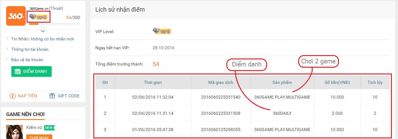 Giờ đây, tham gia hoạt động trên 360Game.vn cũng có thể nhận được nhiều  điểm trưởng thành, từ đó tăng cấp VIP của tài khoản!